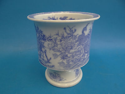 Antique Old Chinese Porcelain Blue White Peacock Design Unsigned Planter Pot