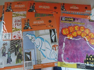 Lot of 6 Halloween New Sealed  Decorations & Signs Pumpkin Carving - Halloween Decorations Pumpkin Carving