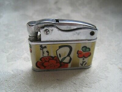 Cigarette LIGHTER Vintage ENAMEL Style from CHINA Metal Chrome COLLECTABLE