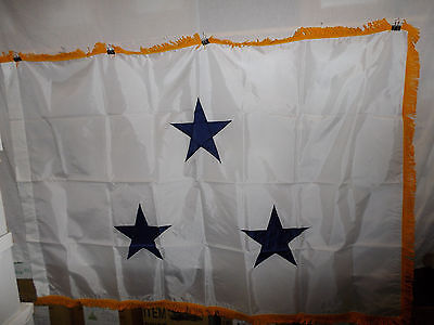 flag555 US Navy 3 Star Vise Admiral White with Gold fringe flag