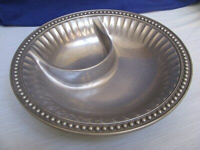 Wilton Armetale Pewter Flutes & Pearls Small Chip & Dip Bowl Serving Dish Metal