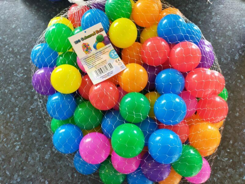 100x+Plastic+Soft+Play+Balls+For+Children+Ball+Pit+Kids+Multi+Coloured.+BPA+Free