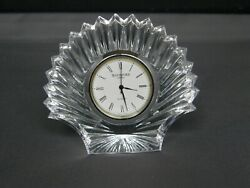 Waterford Crystal Small Desk Clock Scallop Seashell Battery Operated-Signed