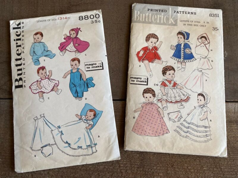Vintage Butterick Baby Doll Clothes Patterns 8800 & 8351