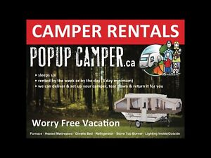 Campers for rent. www.popupcamper.ca 289-971-0644