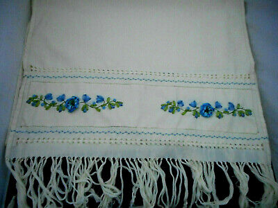 Vintage Runner Blue Grn Ribbon Embroidery Beads Drawnwk Ivory 24 x 76