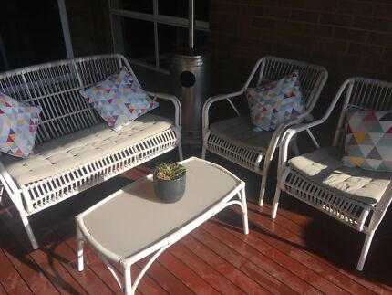 Charming 4 Piece Outdoor White Wicker Setting Part 25