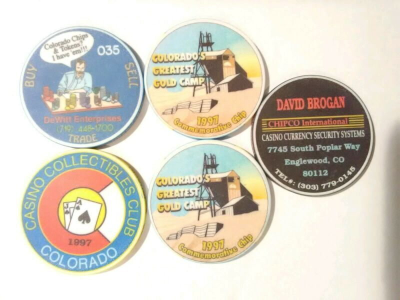 5 DEALER LOGO CHIPS GREAT FOR ANY COLLECTION!