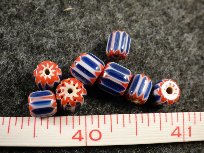 (8) Fur Trade Era Indian 6 Layer Chevron Glass Trade Beads Red Whi Blue Very Old