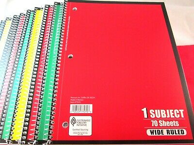 Spiral Note Book 10 PCS Lot Wide Ruled One Subject 70 Sheets Each