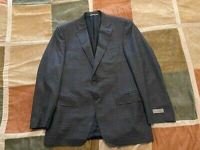 $1395 Canali grey blue plaid check 100% wool blazer sport coat 52 R 42 mens NEW
