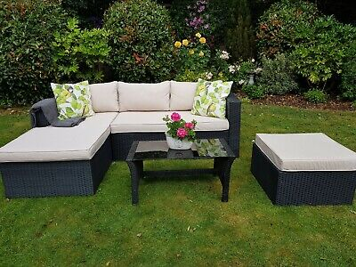 Garden furniture, L shaped sofa, footstool and coffee table
