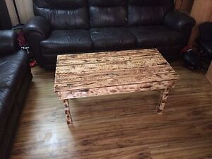 Torched pallet coffee table