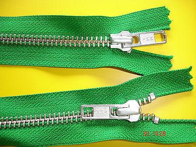 1 Reißverschluß ykk grün 70cm, 2-Wege-RV Metallzähne X52