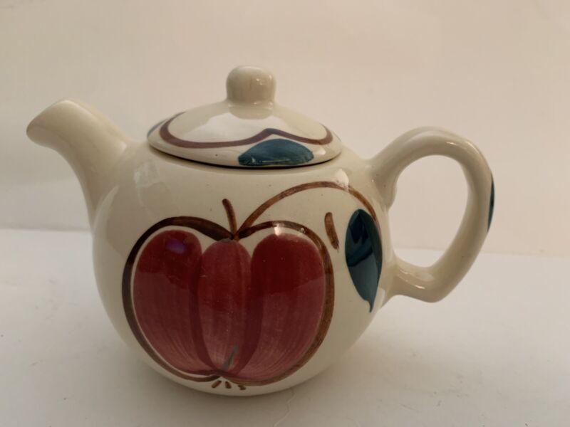 Vintage Purinton Slipware Pottery Small Individual Teapot Apple/Pear