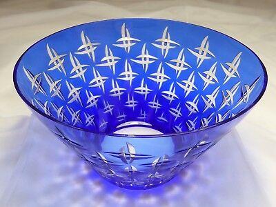 Überfang Kristall Schale farblos kobaltblau geschliffen Art Déco (Nr. 1030)