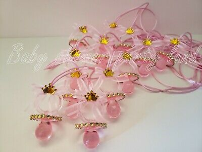 12 Princess Pacifier Necklace Baby Shower Favor Prize Game Girl Decor Recuerdos