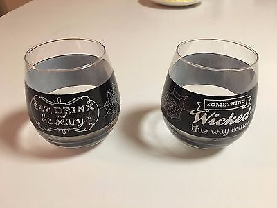 HALLOWEEN  STEMLESS WINE GLASSES - WICKED THIS WAY COMMES -4
