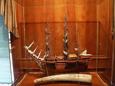 model wooden boat Charles W. Morgan Whaling ship with glass case & Table