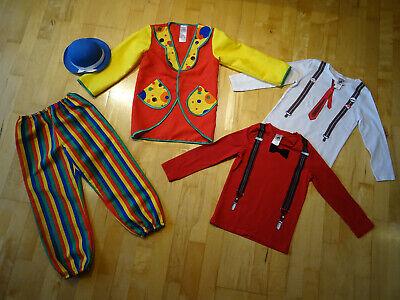 Buntes Clown Kostüm als Set für Kinder Gr. 116, mit Mini-Melone; 5 Teile