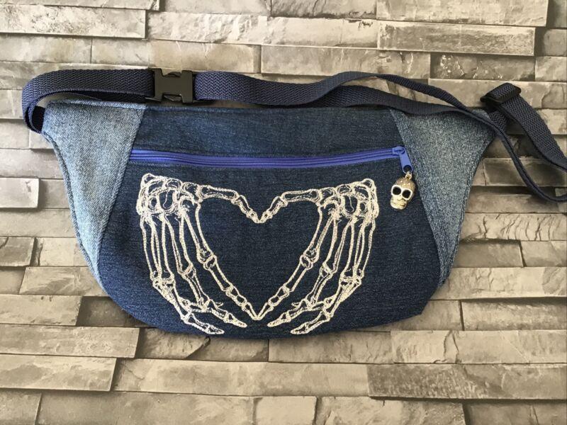 Bum+Bag+Denim+Upcycled+Hip+Bag+Skull+Skeleton+Hands
