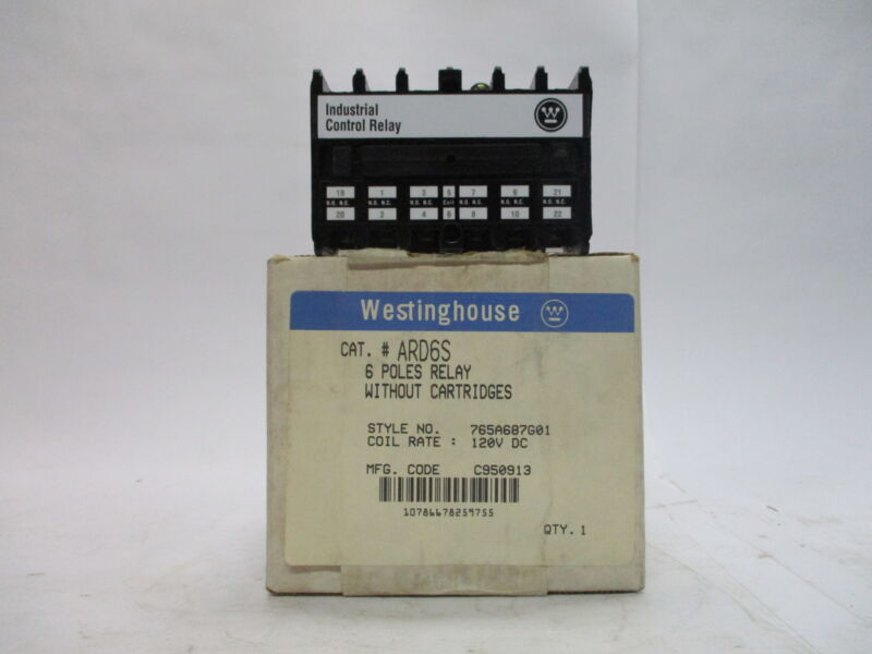 Westinghouse ARD6S 6 Pole Industrial Control Relay without Cartridges 120vdc