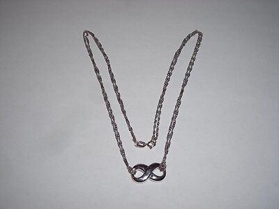 Beautiful 18k White Gold Infinity Eternity Love Necklace  Simple But Says It All