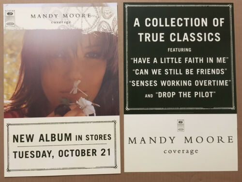 MANDY MOORE Rare 2003 DOUBLE SIDED PROMO POSTER FLAT w/ DATE for Coverage CD