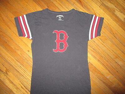 BOSTON RED SOX T SHIRT Baseball Sewn Logo Ringer Stripe Sleeve Women JUNIORS SM - Ladies Baseball Ringer T-shirt