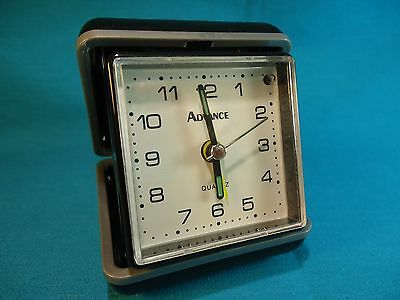 Advance Quartz Travel Alarm Clock Black Plastic With Dial Light - Used