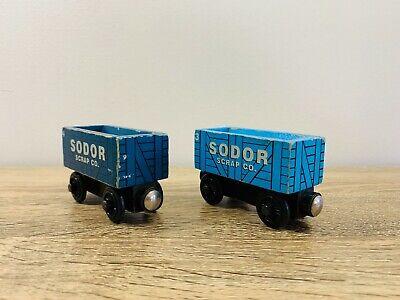 Blue Scrap Car x 2 - Thomas the Tank Engine & Friends Wooden Railway Trains