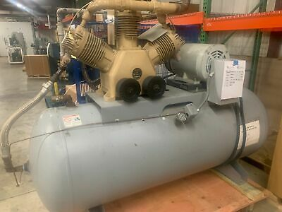 Hitachi 20 Hp Oilless Piston Air Compressor 55 Cfm 3-ph 200 Gallon Tank Used