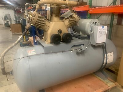 Hitachi Pump 20 Hp Oilless Piston Air Compressor 55 Cfm 3-ph Air Tank Used