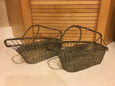 Two Vintage Woven Metal Wine Bottle Holders-Baskets-Decorative Table Decorations