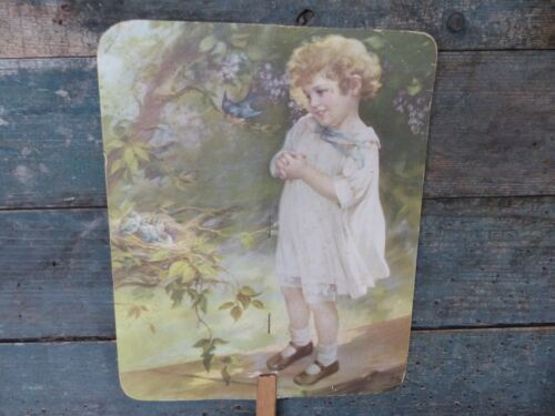 antique victorian cardboard children hand fan mansons dover new hampshire