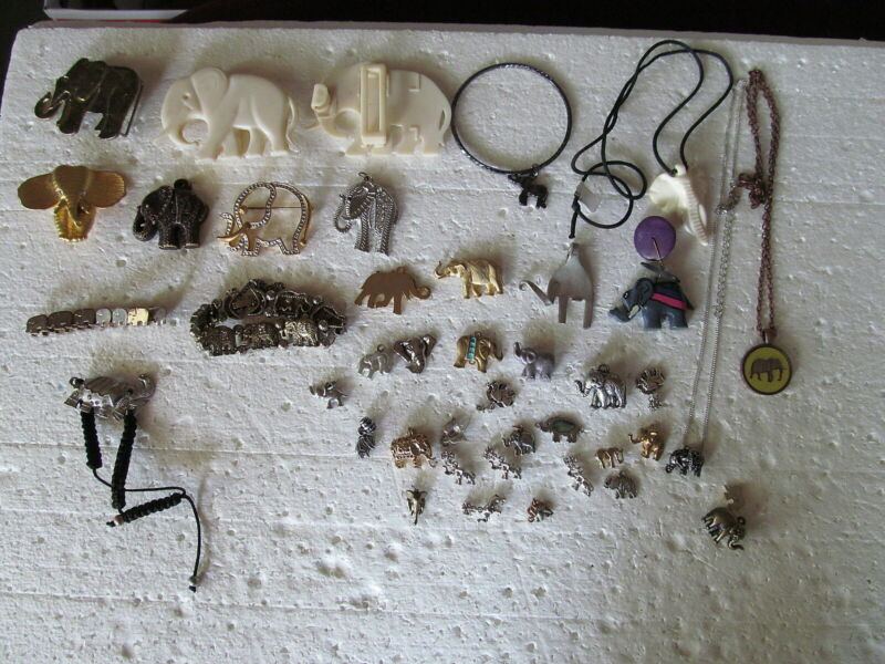 Fabulous Lot Of 42 Assorted Elephant Jewelry Pieces - Vintage & Modern -  LOOK!!