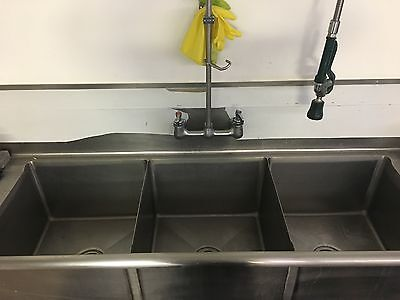 Three compartment commercial sink