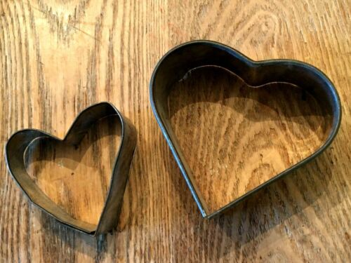 Vintage Metal Cookie Cutters Heart Shaped In 2 Various Sizes