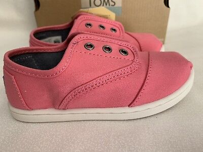 Tiny Toms Pink (Tiny Toms Cordones Bubblegum Pink Canvas slip-on Toddler shoes US Size 7, 9,)