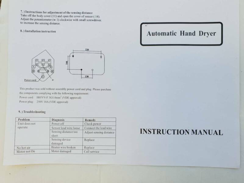 Commercial Grade 1600W Automatic Hand Dryer For Shop, Office
