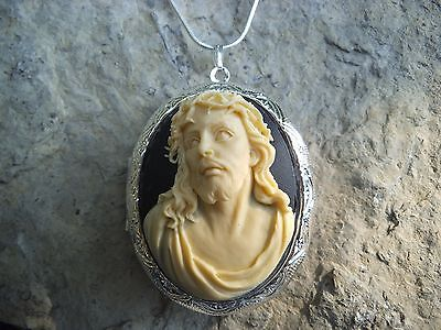JESUS CAMEO LOCKET NECKLACE - CROWN OF THORNS - CHRISTMAS, EASTER, GIFT ](Crown Of Thorns Necklace)