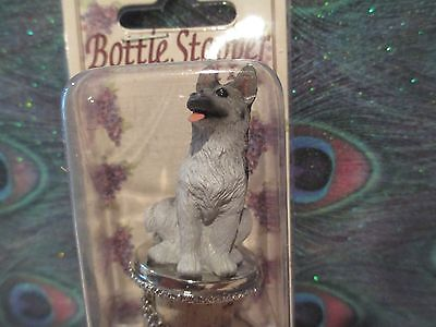 GERMAN SHEPHERD  black and silver WINE STOPPER
