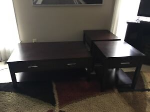 3 piece dark wood coffee table set