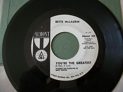 """BETTE McLAURIN. """"YOU'RE THE GREATEST"""". CASSIUS CLAY. 7"""" VINYL. 45RPM ALMONT.RARE"""