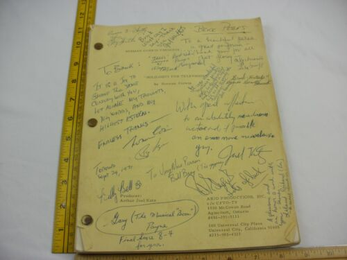 Brock Peters signed cast script Soliloquy for Television TV 1972 Norman Corwin