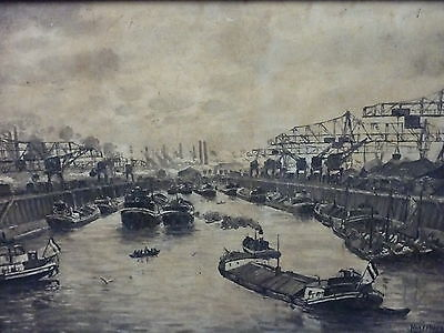 Düsseldorfer Hafen maritimes Gemälde (Grafik) Signatur Neuerburg Düsseldorf