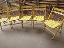 5 Vntg retro painted yellow/white shabby wooden slat deck chairs Kellyville The Hills District Preview