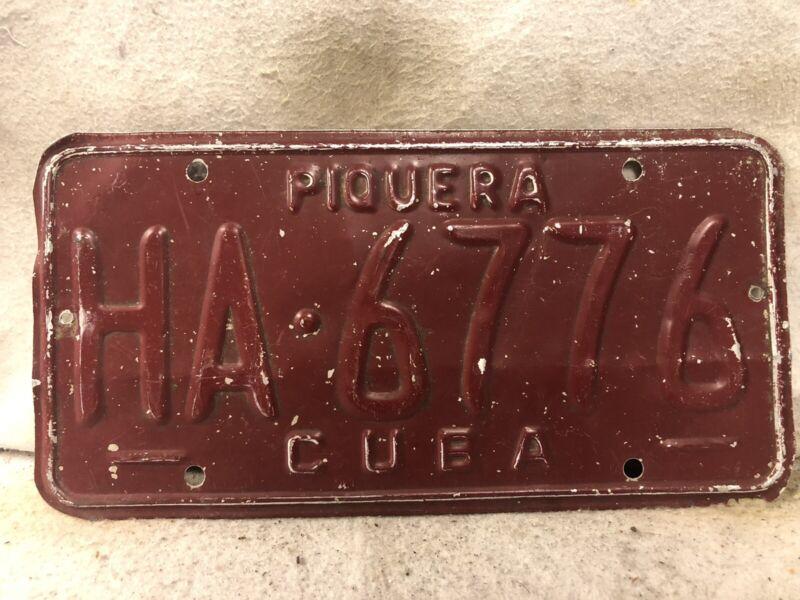 Vintage Cuba License Plate