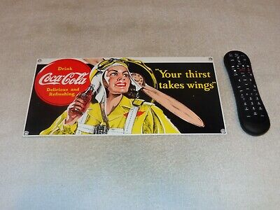 VINTAGE COCA COLA AIRPLANE FEMALE PILOT 14 PORCELAIN METAL SODA POP GAS OIL SIGN