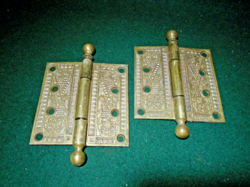 "PAIR of NORWALK EASTLAKE BRASS HINGES: 4"" X 4""  CIRCA 1890 (14426)"